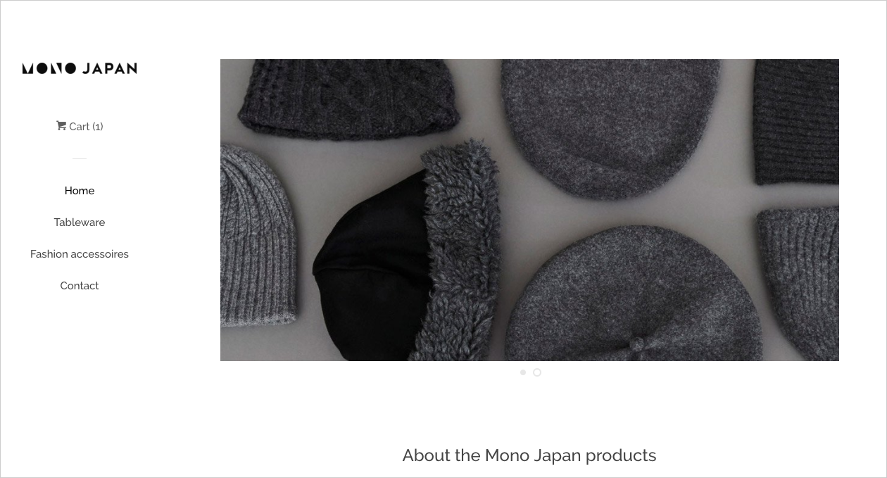 Screenshot of the new webshop of Mono Japan